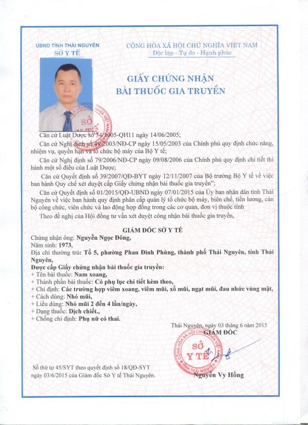 Chứng nhận bài thuốc gia truyền trị viêm xoang của Doctor Nam