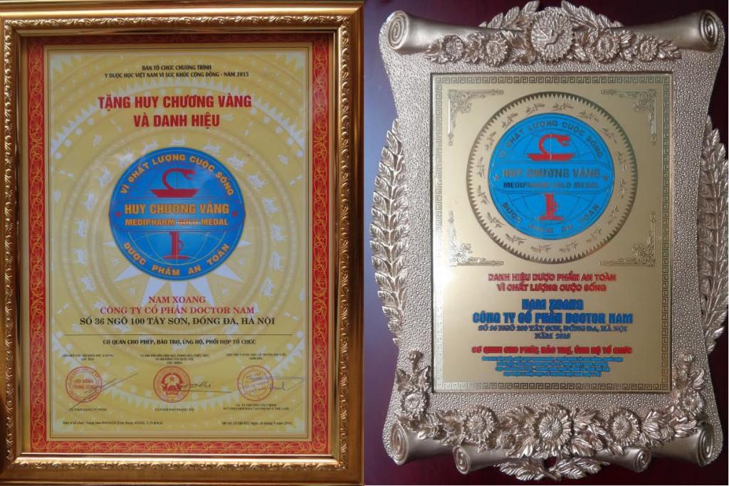 Nam Xoang huy chương vàng và danh hiệu dược phẩm an toàn vì chất lượng cuộc sống